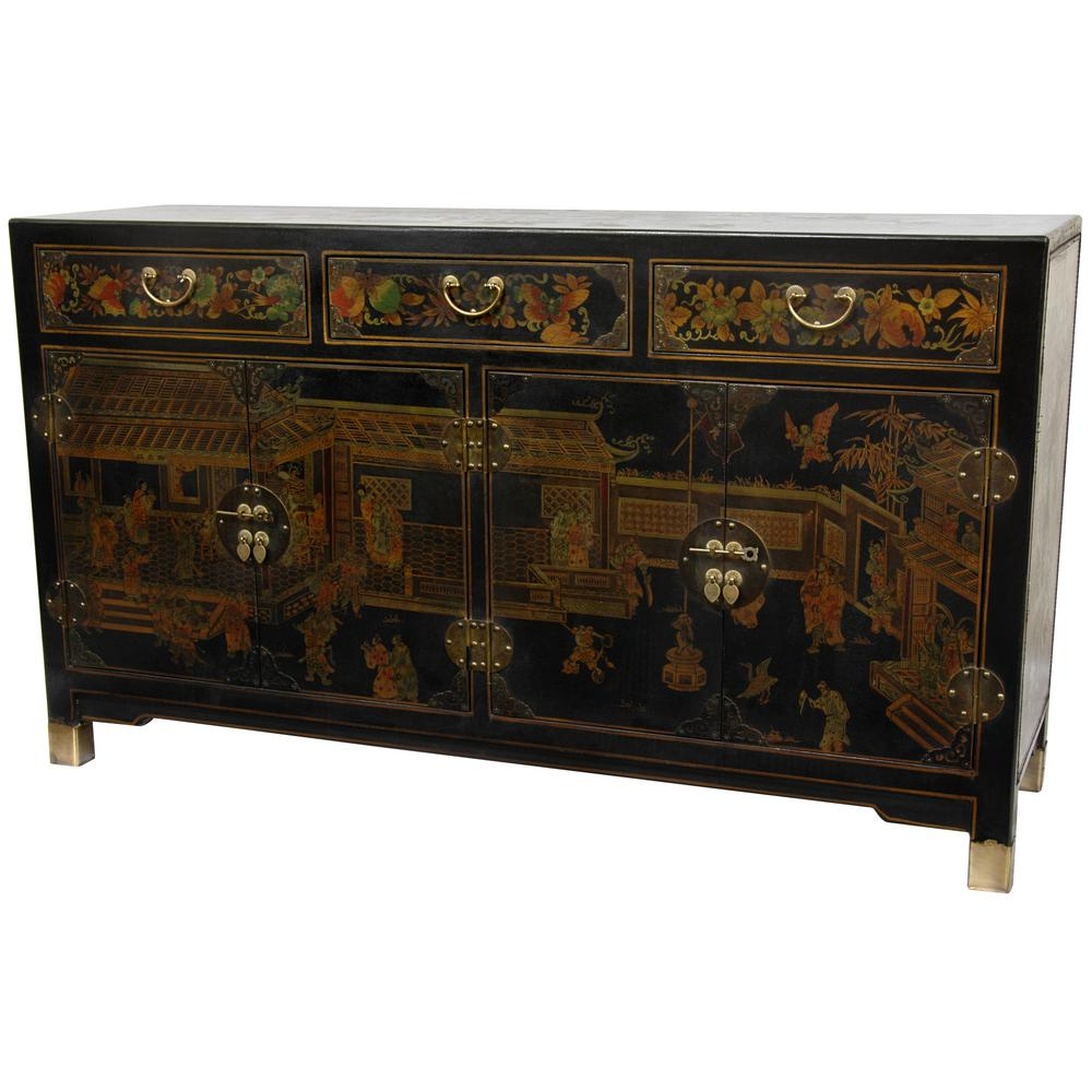 Oriental Furniture Black Lacquer Large Buffet