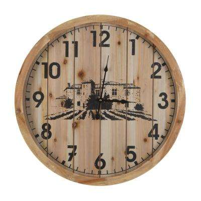 Villa Cimbrone Natural Wood Planked Wall Clock
