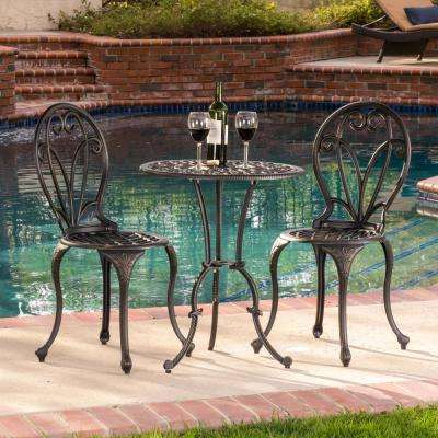 Thomas Brown 3-Piece Aluminum Round Outdoor Bistro Set