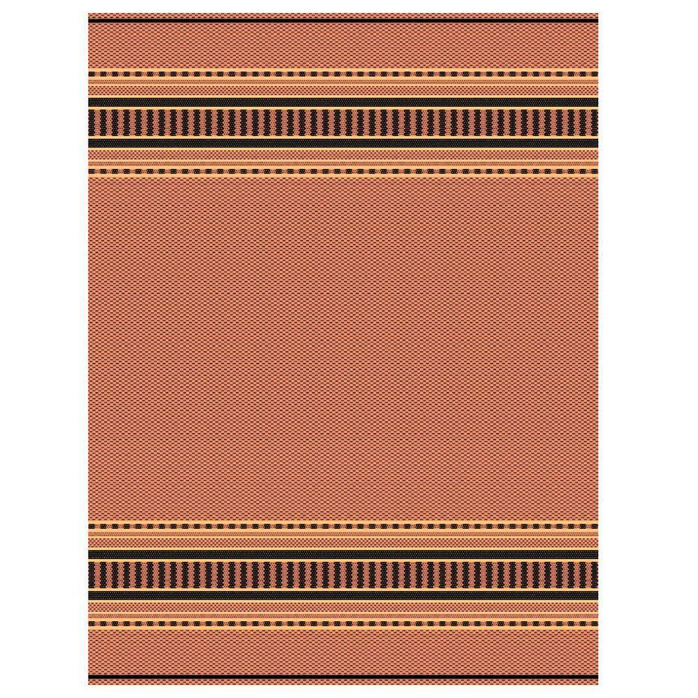 Pueblo Design Terracotta/Black 4 ft. x 5 ft. Area Rug