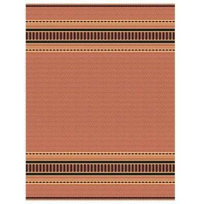 Pueblo Design Terracotta/Black 6 ft. x 9 ft. Area Rug