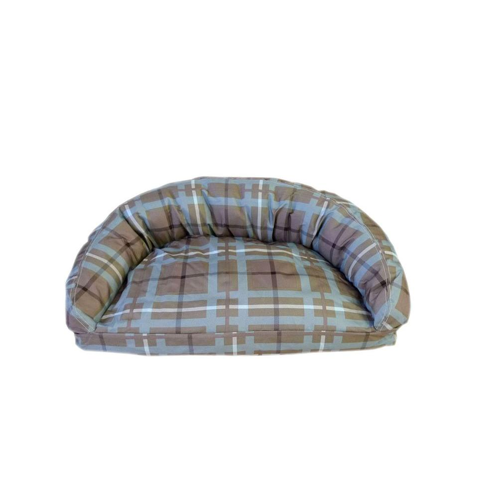 Brutus Tuff Semi Circle Small Blue/Brown Plaid Lounger Bed