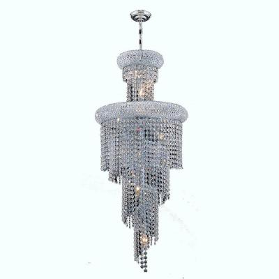 Empire Collection 10-Light Polished Chrome Chandelier with Clear Crystal Shade