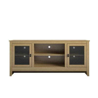 Luca 60 in. Golden Oak Particle Board TV Stand Fits TVs Up to 65 in. with Cable Management