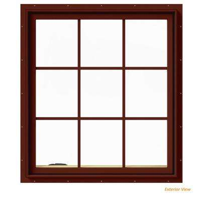 36 in. x 40 in. W-2500 Series Red Painted Clad Wood Left-Handed Casement Window with Colonial Grids/Grilles