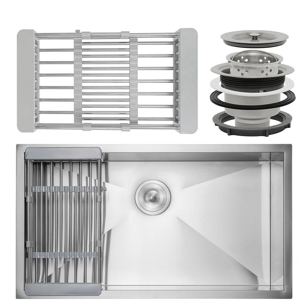 AKDY Handmade Undermount Stainless Steel 30 in. x 18 in. Single Bowl Kitchen Sink with Drying Rack, Silver was $269.99 now $179.99 (33.0% off)
