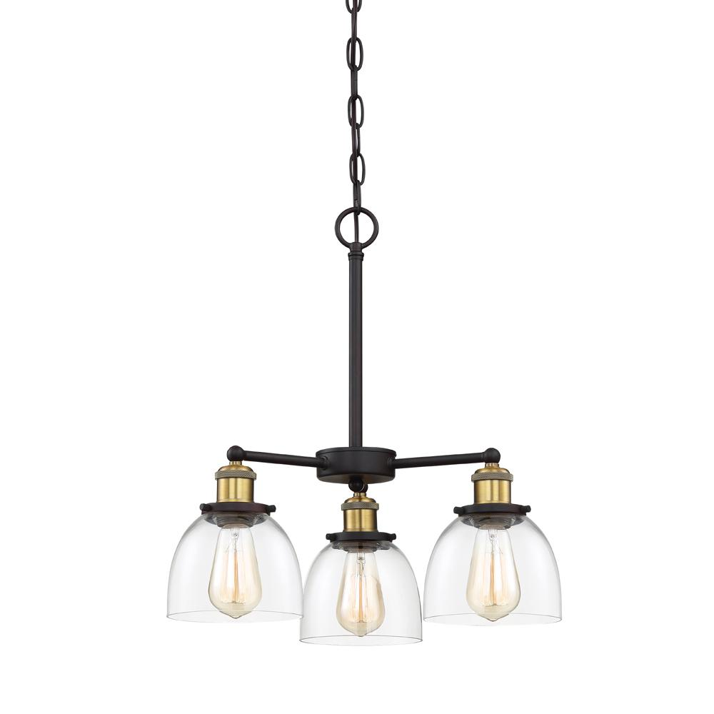 Designers Fountain Bryson 3-Light Vintage Bronze Chandelier with Clear Glass Shade