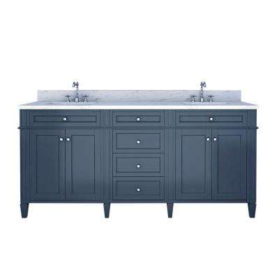 Samantha 72 in. W x 22 in. D Double Vanity in Gray with Marble Vanity Top in White with White Basin