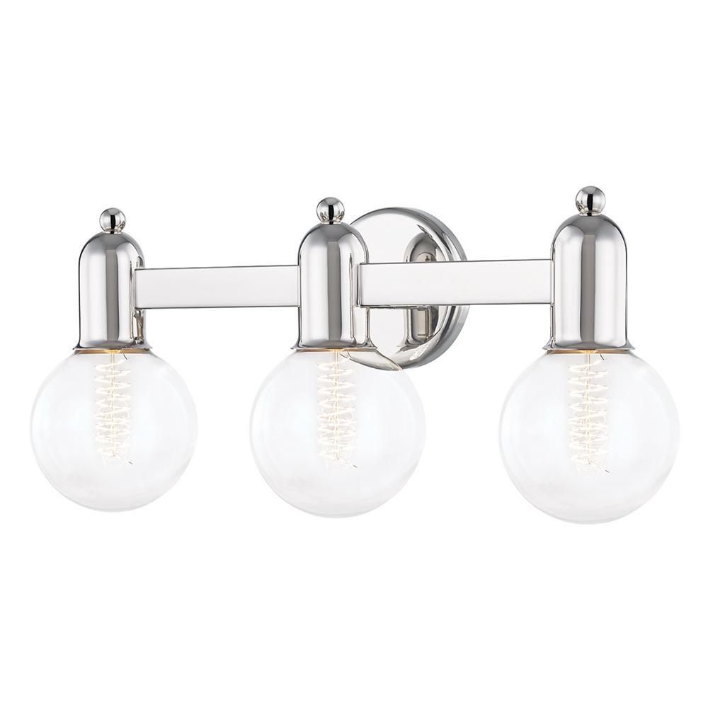 Bryce 4.75 in. 3-Light Polished Nickel Vanity-Light