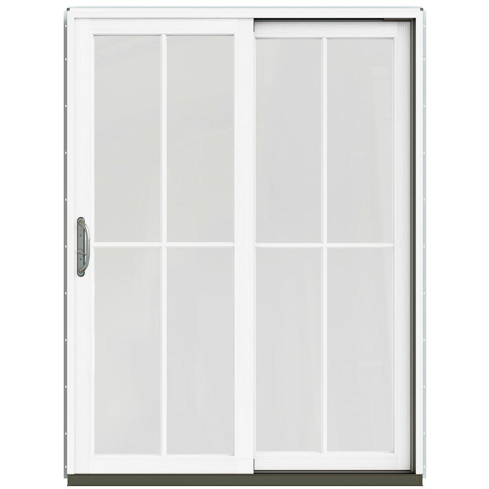 59.25 in. x 79.5 in. W-2500 Arctic Silver Prehung Right-Hand Clad-Wood