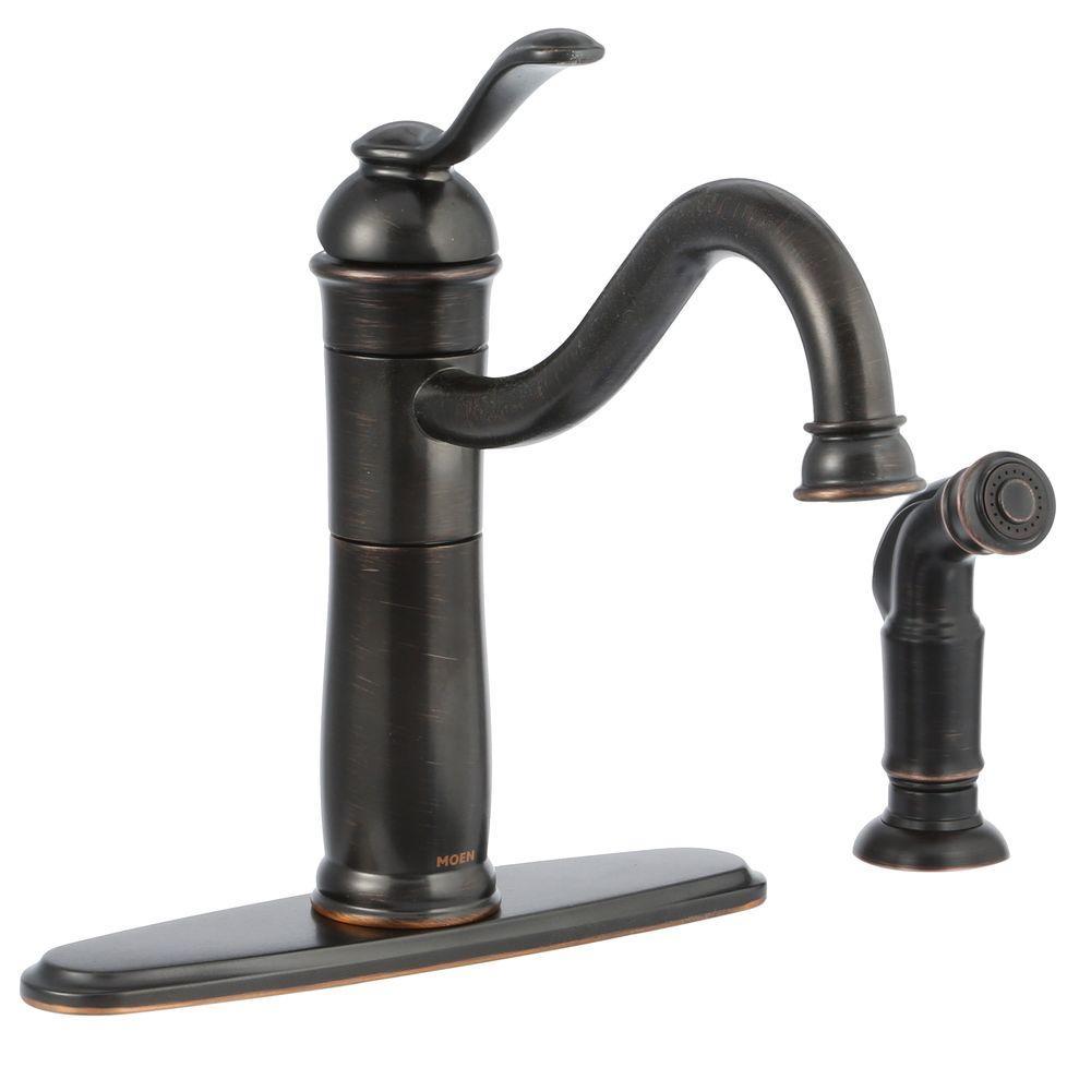 Moen Walden Single Handle Standard Kitchen Faucet With Side Sprayer In Mediterranean Bronze