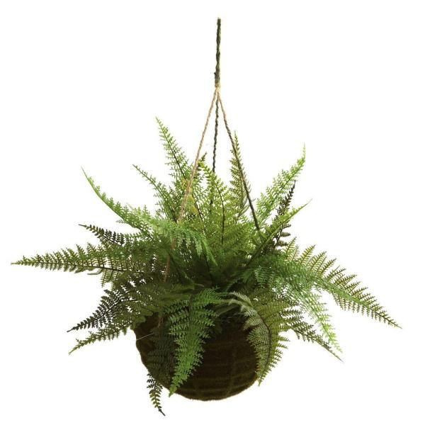Nearly Natural - Indoor/Outdoor Leather Fern with Mossy Hanging Basket (Set of 2)