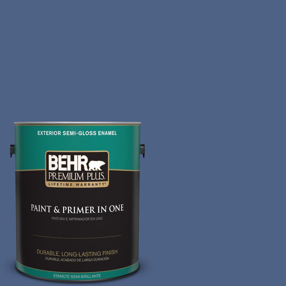1 gal. #PPU15-04 Mosaic Blue Semi-Gloss Enamel Exterior Paint