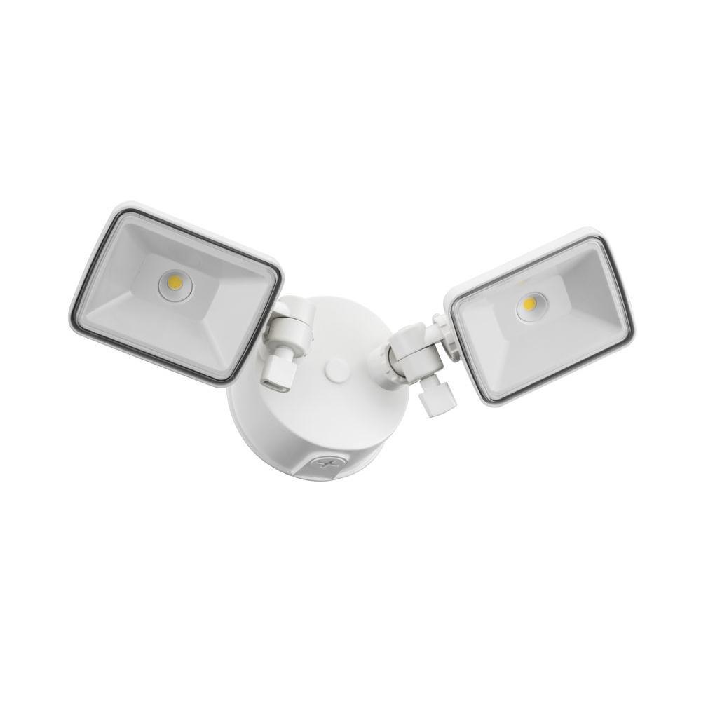 2-Head White Outdoor LED Square Flood Light