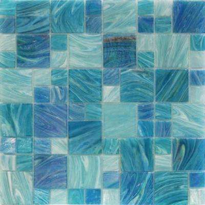 Aqua Blue Sky French Pattern 11.62 in. x 11-3/4 in. x 5 mm Glass Mosaic Tile