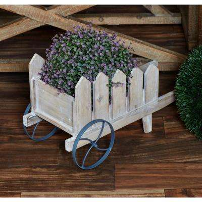 White Iron and Wood Flower Cart