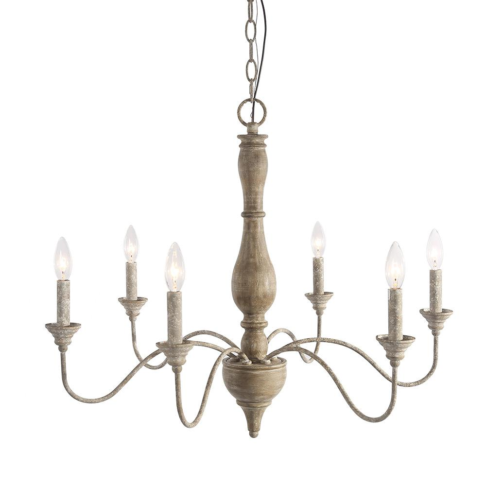 Lnc 6 Light Antique White French Country Chandelier