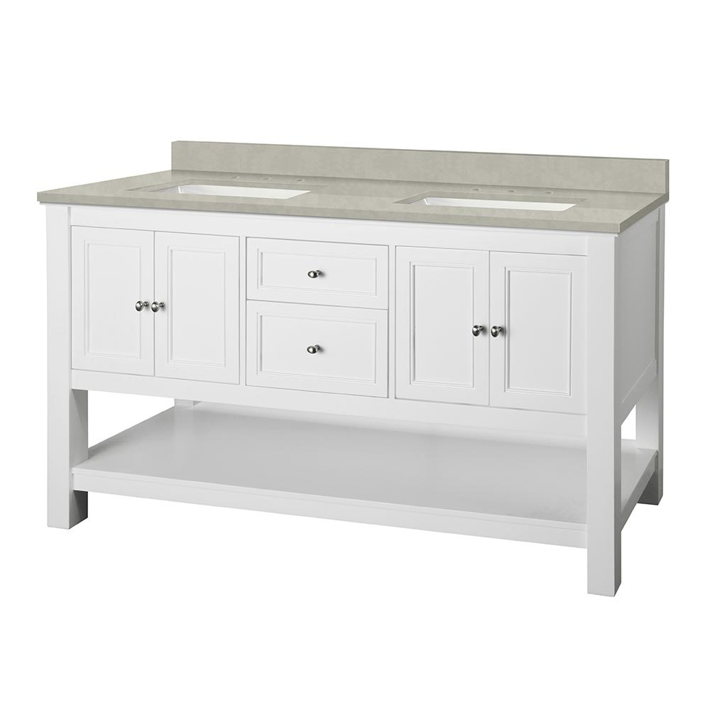 Home Decorators Collection Gazette 61 in. W x 22 in. D Vanity Cabinet in White with Engineered Marble Vanity Top in Dunescape with White Sink was $1299.0 now $909.3 (30.0% off)