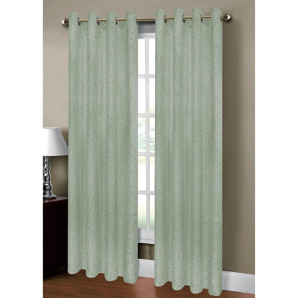 Semi Opaque Leila Jacquard Grommet Extra Wide Curtain Panel