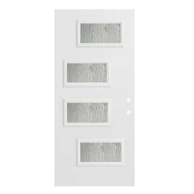 32 in. x 80 in. Beatrice Grain 4 Lite Painted White Left-Hand Inswing Steel Prehung Front Door