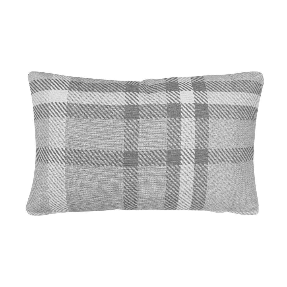 Tartan Charcoal Lumbar Outdoor Accent Throw Pillow