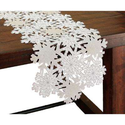 16 in. x 36 in. Shimmer Snowflake Embroidered Collection Cutwork Table Runner