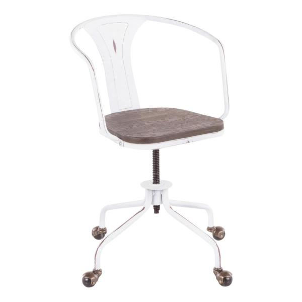 Lumisource Oregon Industrial Vintage White And Espresso Task Chair Oc Or Vw E The Home Depot