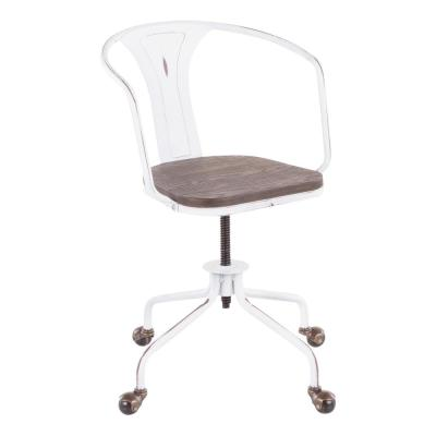 Oregon Industrial Vintage White and Espresso Task Chair