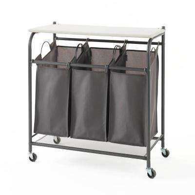 Grey Triple Deluxe Fabric Laundry Hamper Sorter with Ironing Board