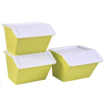 Green 12 in. H x 14.5 in. W Large Plastic Stackable Storage Bins (Set of 3)