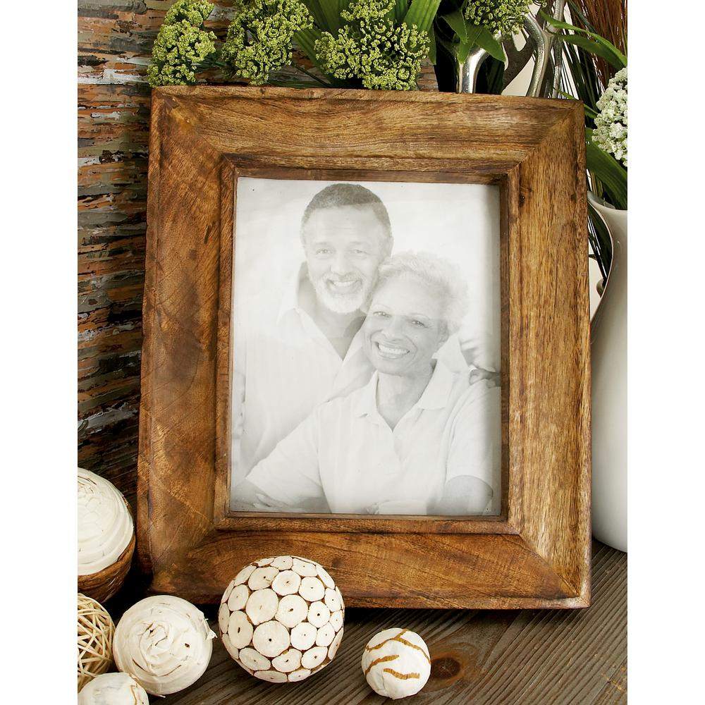 Litton Lane Oak Brown and White Wash Beveled Picture Frame (Set of 2 ...