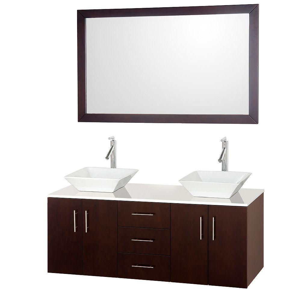 wyndham collection arrano 55 in double vanity in espresso with man made stone vanity top in. Black Bedroom Furniture Sets. Home Design Ideas
