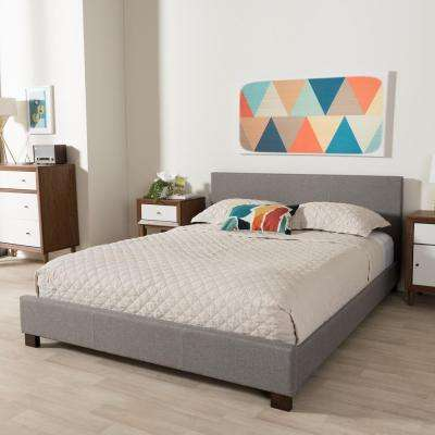 Pless Contemporary Gray Fabric Upholstered Queen Size Bed