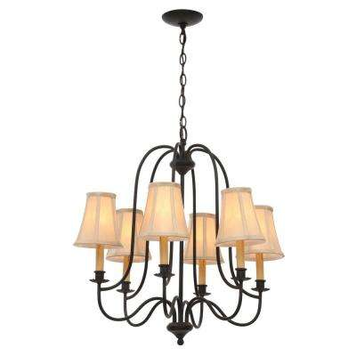 Brondy 6-Light Aged Ebony Chandelier