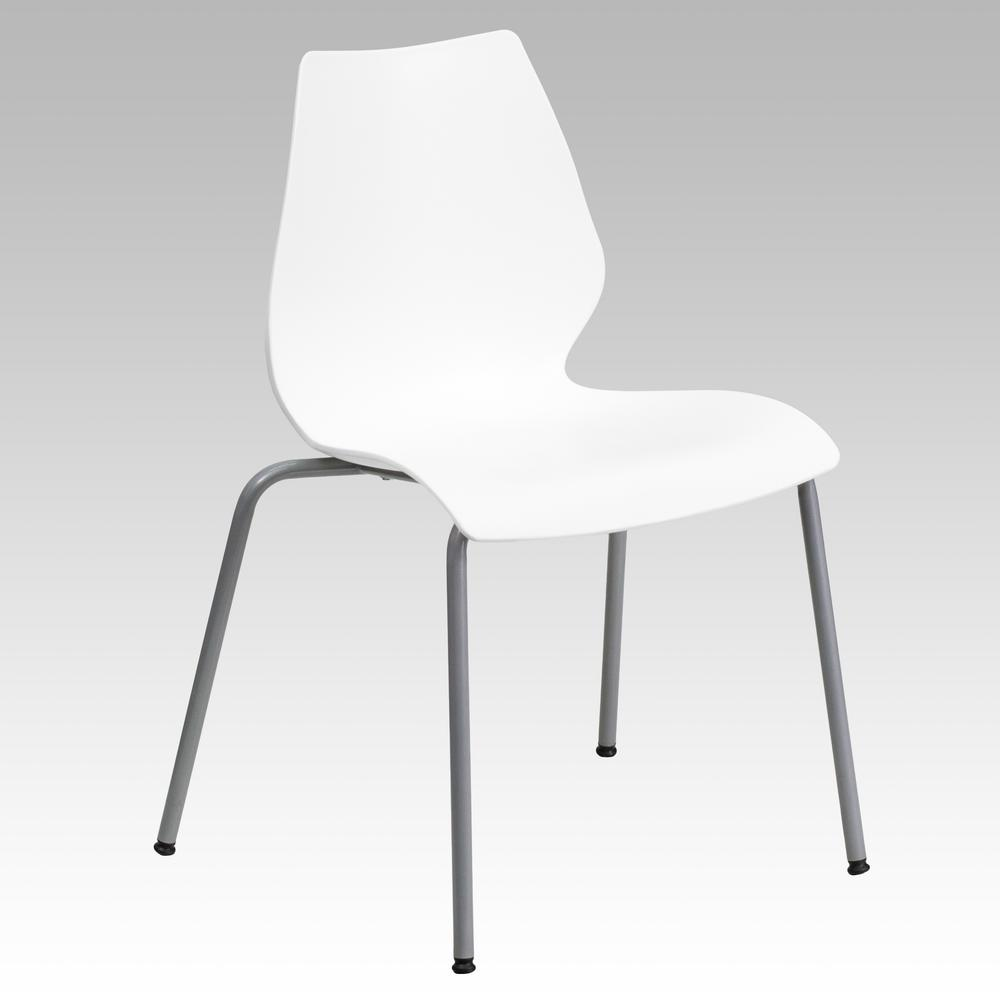 Hercules Series 770 lb. Capacity White Stack Chair with Lumbar Support