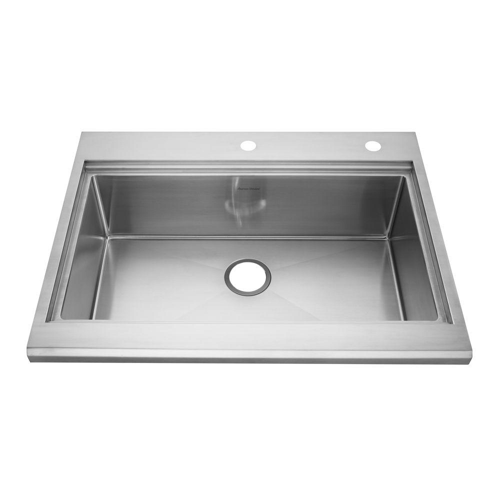 American Standard Prevoir Appliance Drop-In Brushed Stainless Steel 33x25.5x10 in. 2-Hole Single Bowl Kitchen Sink-DISCONTINUED