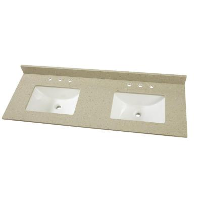 61 in. W x 22 in. D Engineered Quartz Vanity Top in Stoneybrook with White Double Trough Sink