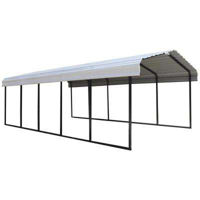 12 ft. W x 24 ft. D x 7 ft. H Galvanized Black/Eggshell Steel Wind and Snow Rated Carport