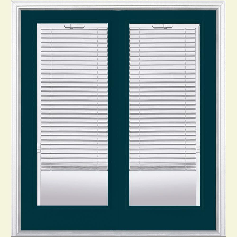 Masonite 72 in. x 80 in. Night Tide Fiberglass Prehung Right-Hand Inswing Mini Blind Patio Door w/ Brickmold, Vinyl Frame