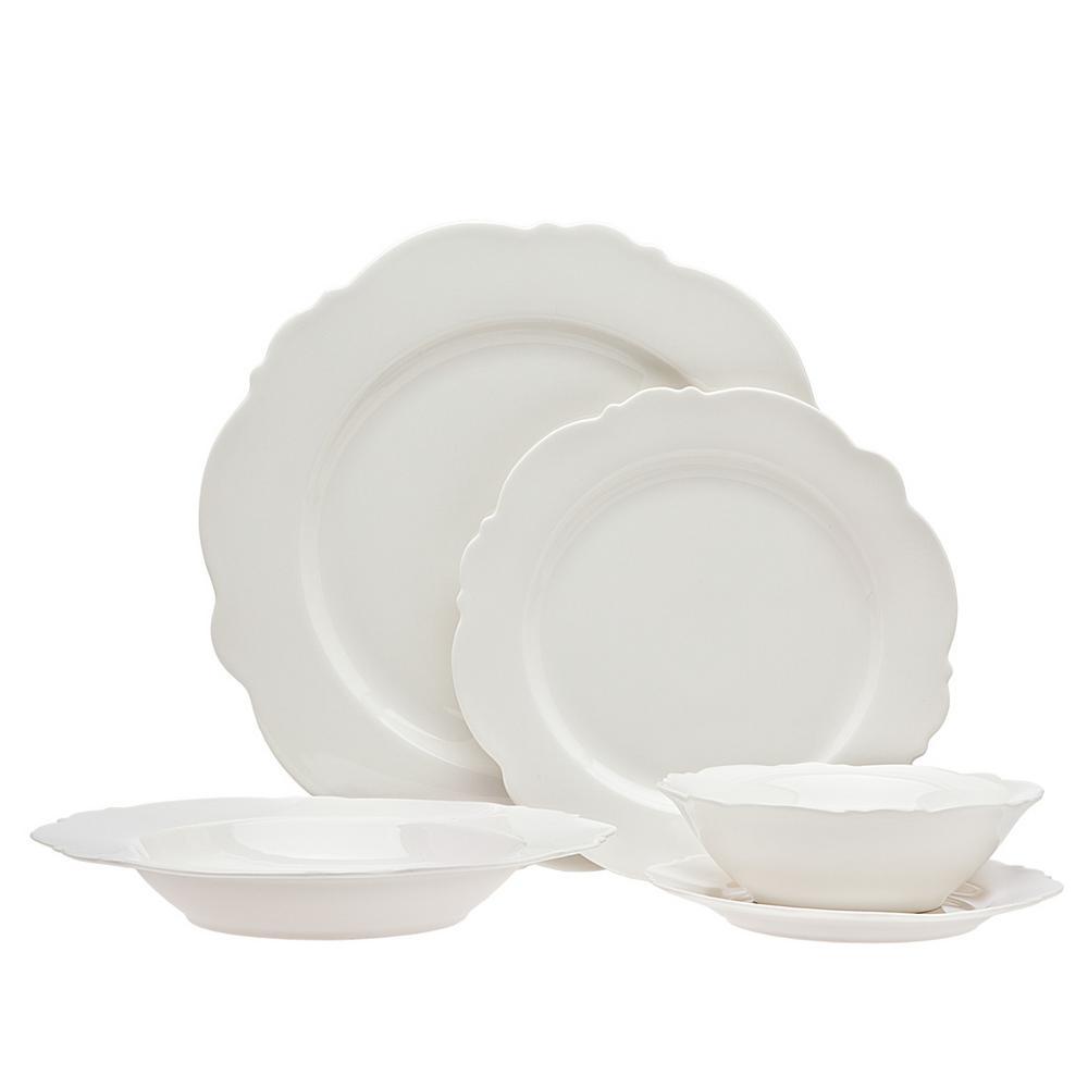 164b32ec9e45 Godinger 20-Piece White Bristol Scallop Bone Dinner Set 62114 - The ...