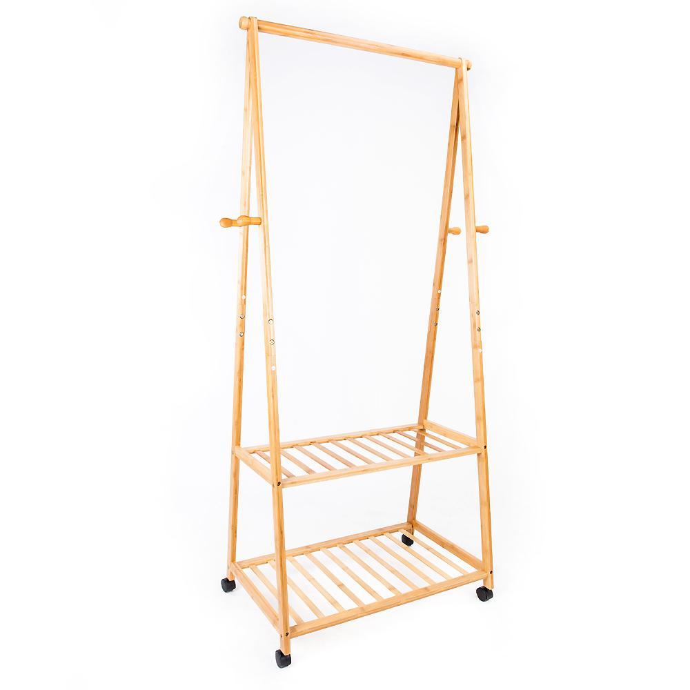 13 in. x 65 in. Moso Bamboo Wood Portable Wardrobe