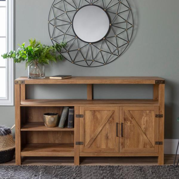 58 in. Barnwood TV Stand 65 in. with Adjustable Shelves