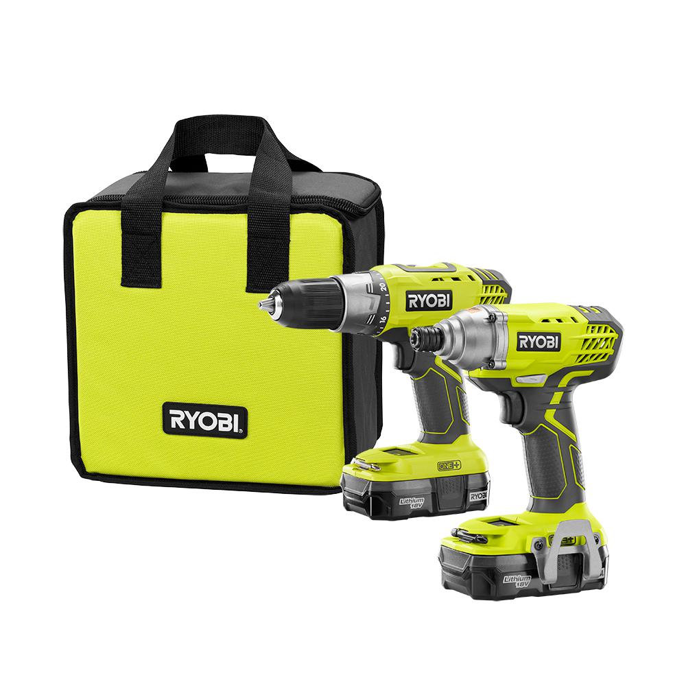 RYOBI 18-Volt ONE+ Lithium-Ion Cordless Drill/Driver and Impact Driver Combo Kit with (2) 1.3 Ah Batteries, Charger, and Bag