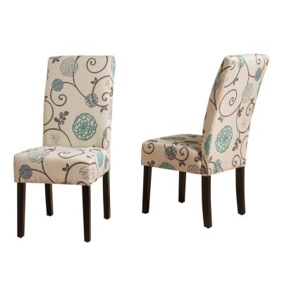 Pertica White and Blue Floral Fabric Dining Chairs (Set of 2)