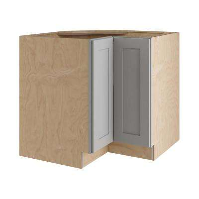 Tremont Assembled 36x34.5x24 in. Easy Reach Base Corner Kitchen Cabinet with Full Height Doors Left Hand in Pearl Gray