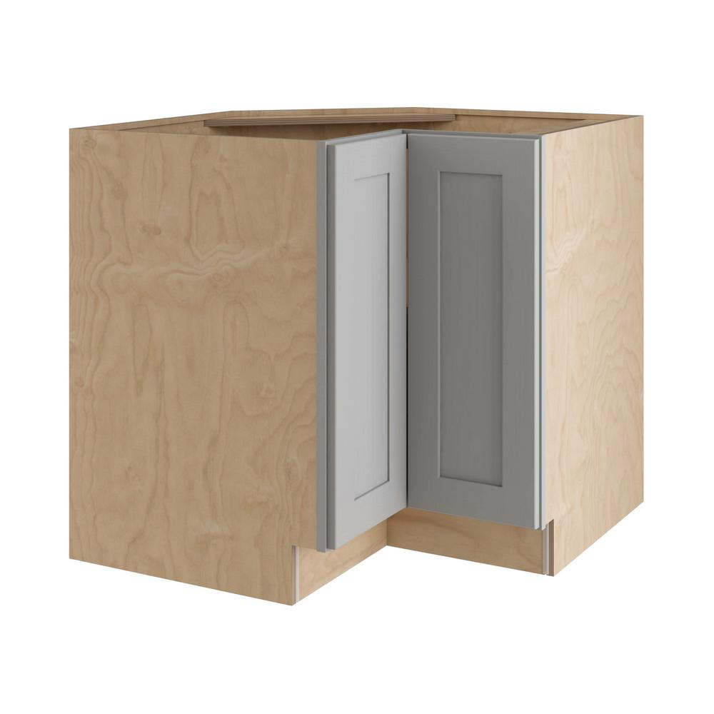 Home Decorators Collection Tremont Assembled 36x34 5x24 In Easy Reach Base Corner Kitchen Cabinet With Full Height Doors Left Hand In Pearl Gray