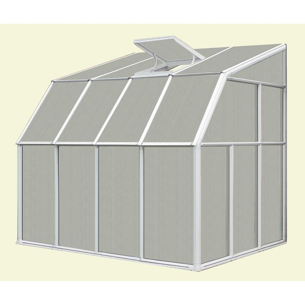 Rion Lean-To 6 ft. 6 in. x 12 ft. 7 in. White Frame Dual Polycarbonate Panels Sunroom Greenhouse-DISCONTINUED