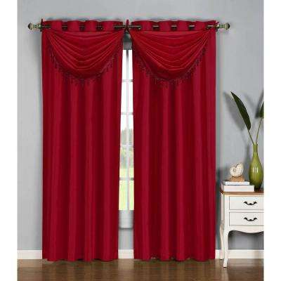 36 in. W x 37 in. L Jane Faux Silk Grommet Waterfall Window Valance in Burgundy