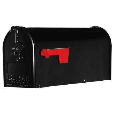 Elite Medium Galvanized Steel Post-Mount Mailbox, Black