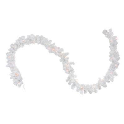 9 ft. x 8 in. Pre-Lit Snow White Artificial Christmas Garland with Clear Lights